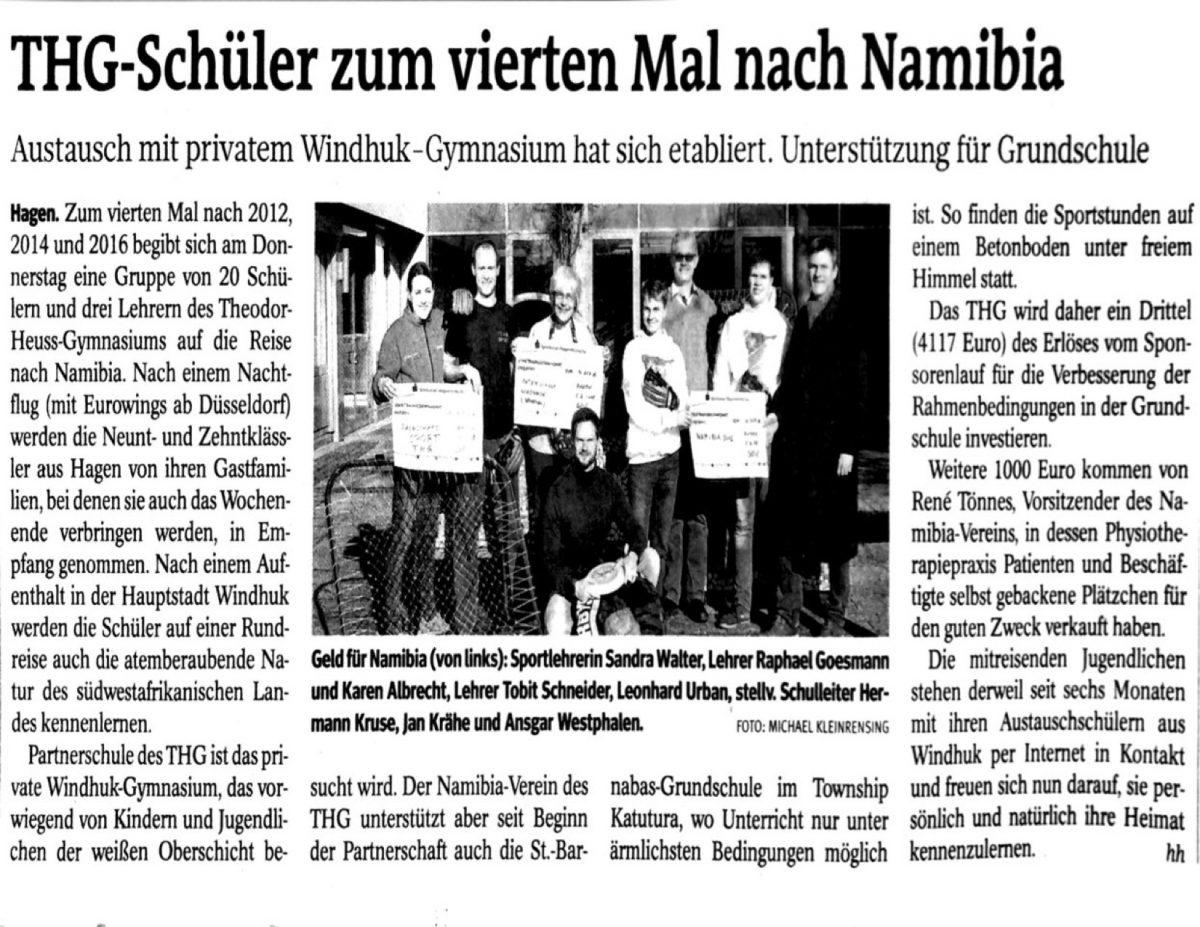 THG-Schüler auf dem Weg nach Namibia