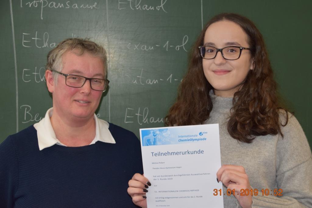 Erfolgreiche Teilnahme an der 1. Runde der Chemieolympiade 2019